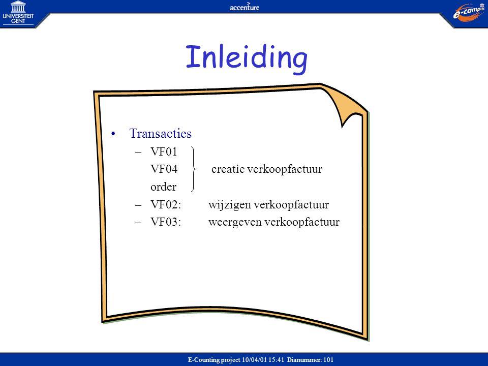 Inleiding Transacties VF01 VF04 creatie verkoopfactuur order