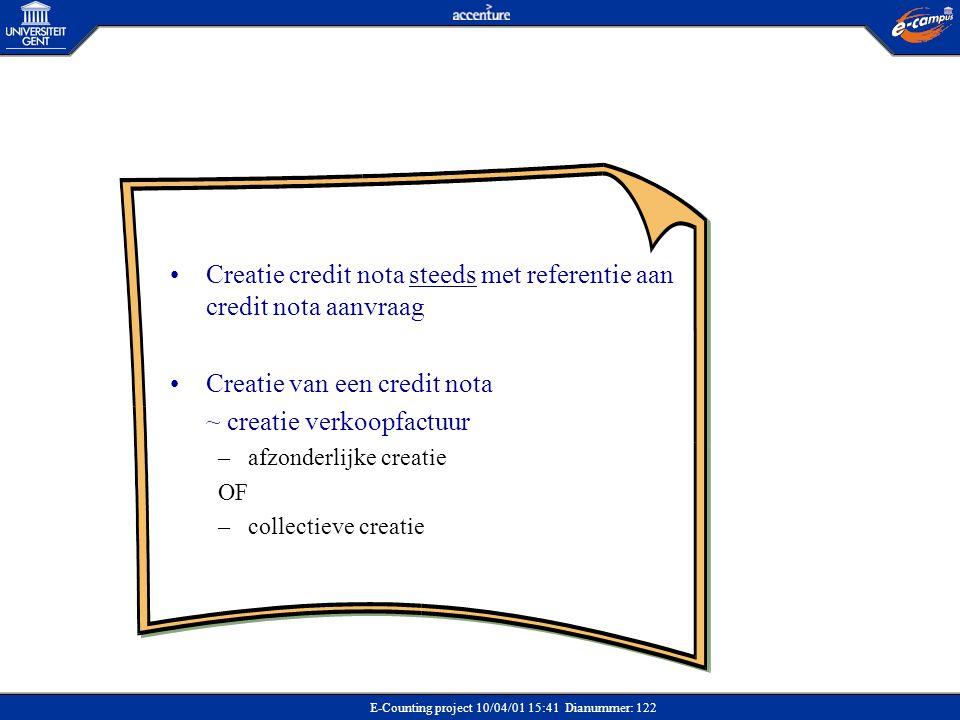 Creatie credit nota steeds met referentie aan credit nota aanvraag