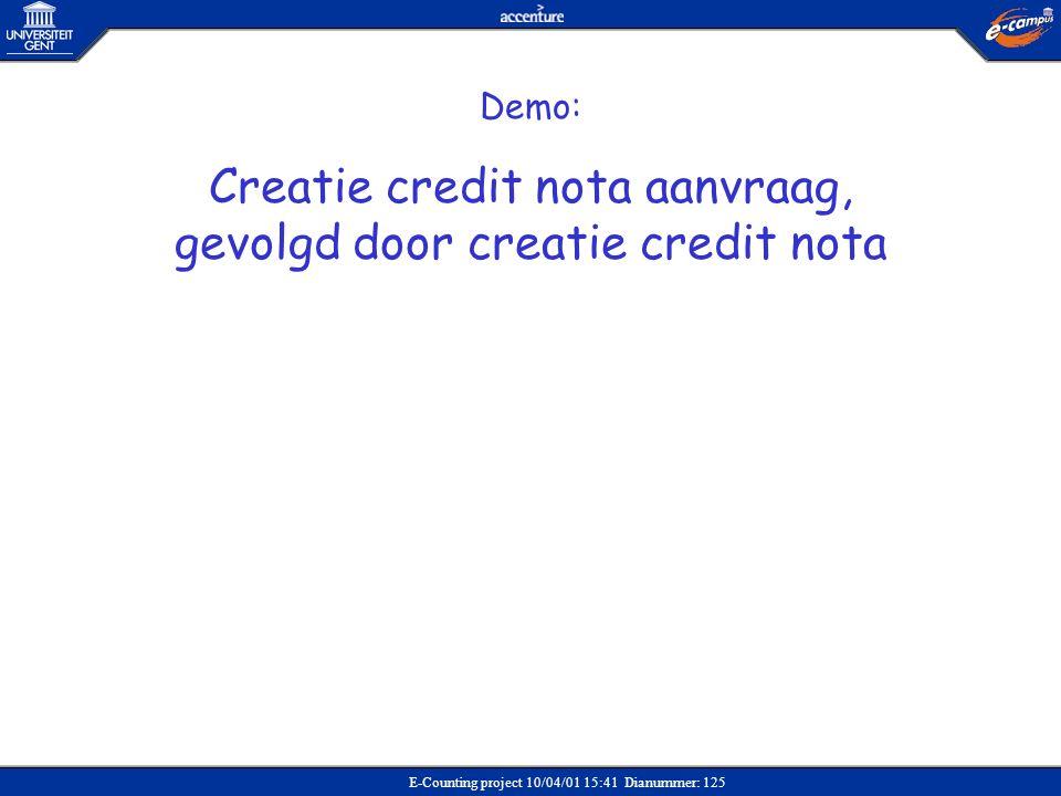 Creatie credit nota aanvraag, gevolgd door creatie credit nota