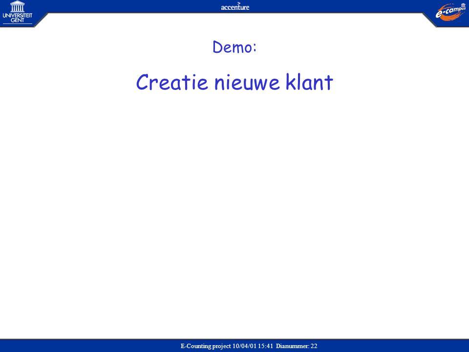 Creatie nieuwe klant Demo: Verkoop Demo: Creatie nieuwe klant