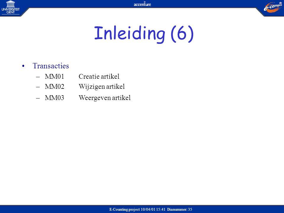 Inleiding (6) Transacties MM01 Creatie artikel MM02 Wijzigen artikel