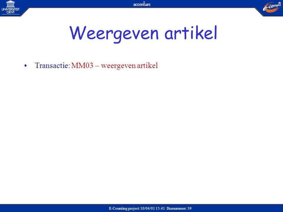 Weergeven artikel Transactie: MM03 – weergeven artikel Verkoop