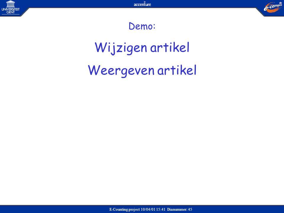 Wijzigen artikel Weergeven artikel Demo: Verkoop