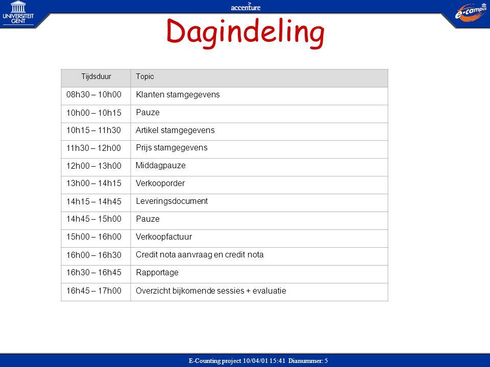 Dagindeling 08h30 – 10h00 Klanten stamgegevens 10h00 – 10h15 Pauze