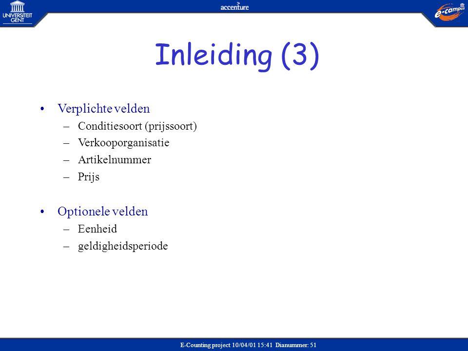 Inleiding (3) Verplichte velden Optionele velden