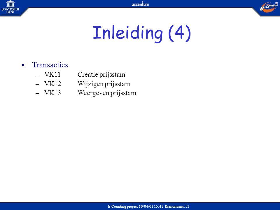 Inleiding (4) Transacties VK11 Creatie prijsstam