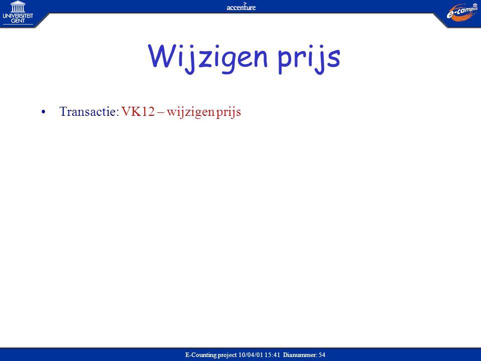 Wijzigen prijs Transactie: VK12 – wijzigen prijs Verkoop
