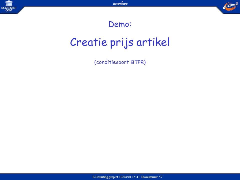 Creatie prijs artikel Demo: (conditiesoort BTPR) Verkoop