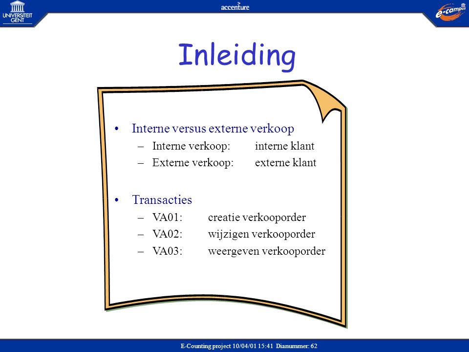 Inleiding Interne versus externe verkoop Transacties