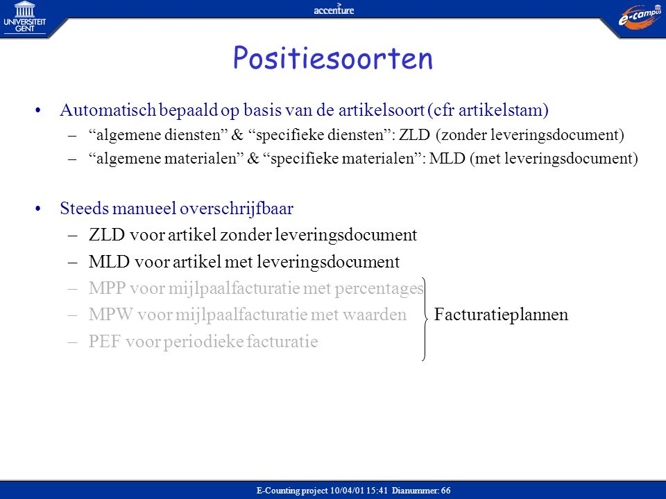Positiesoorten Automatisch bepaald op basis van de artikelsoort (cfr artikelstam)