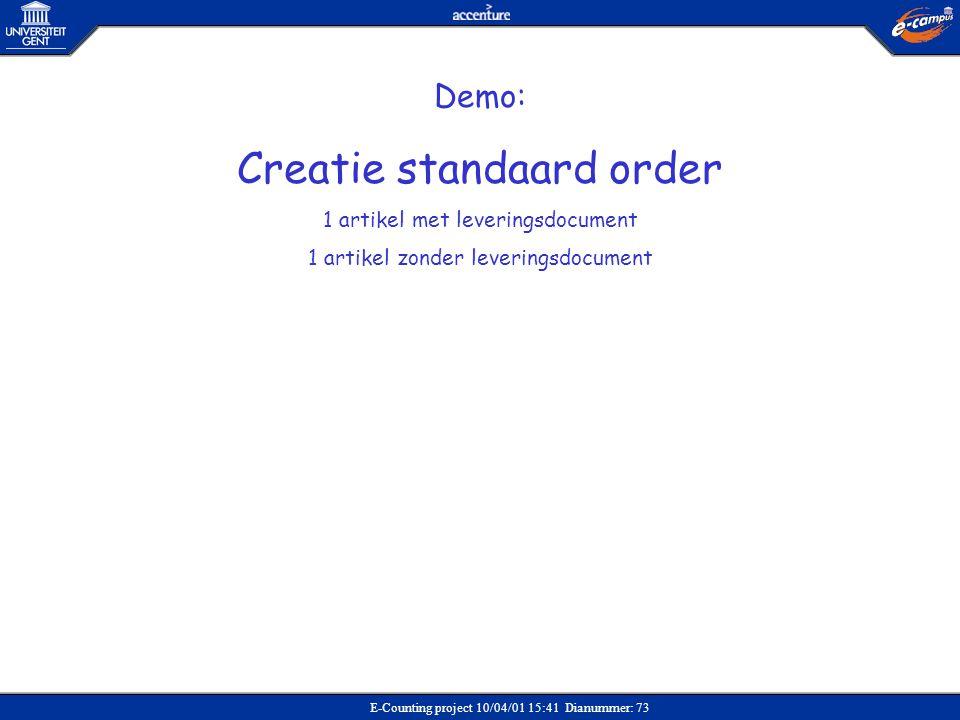 Creatie standaard order
