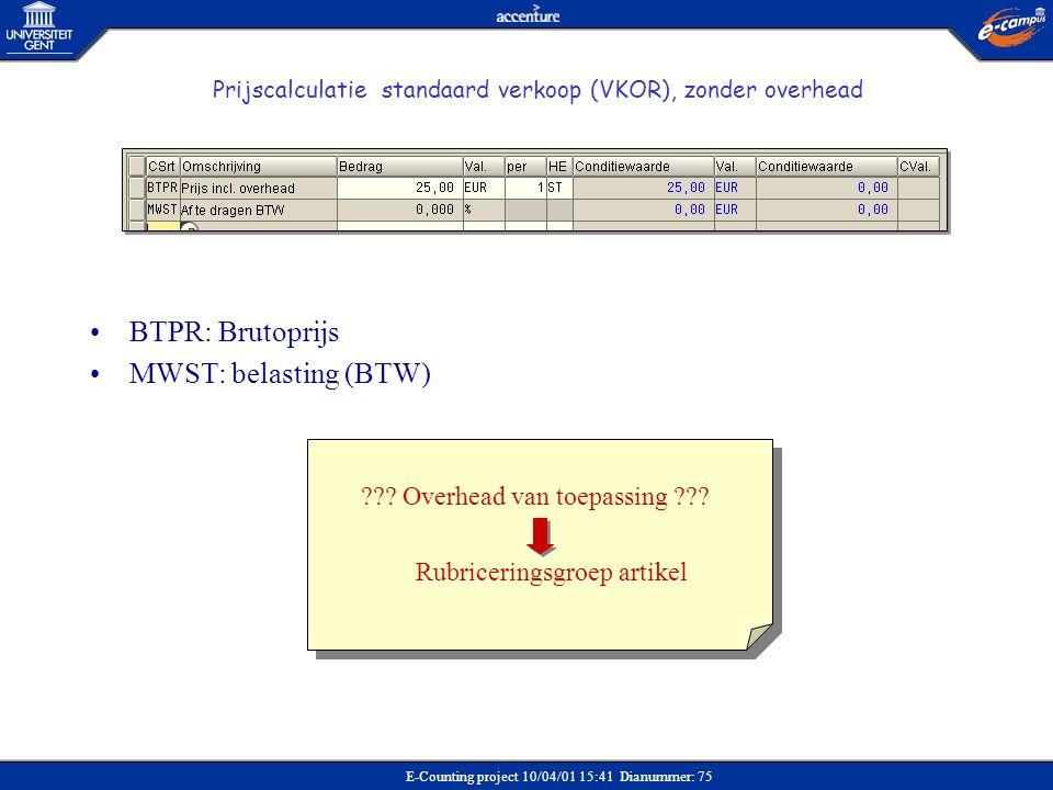 BTPR: Brutoprijs MWST: belasting (BTW) Overhead van toepassing