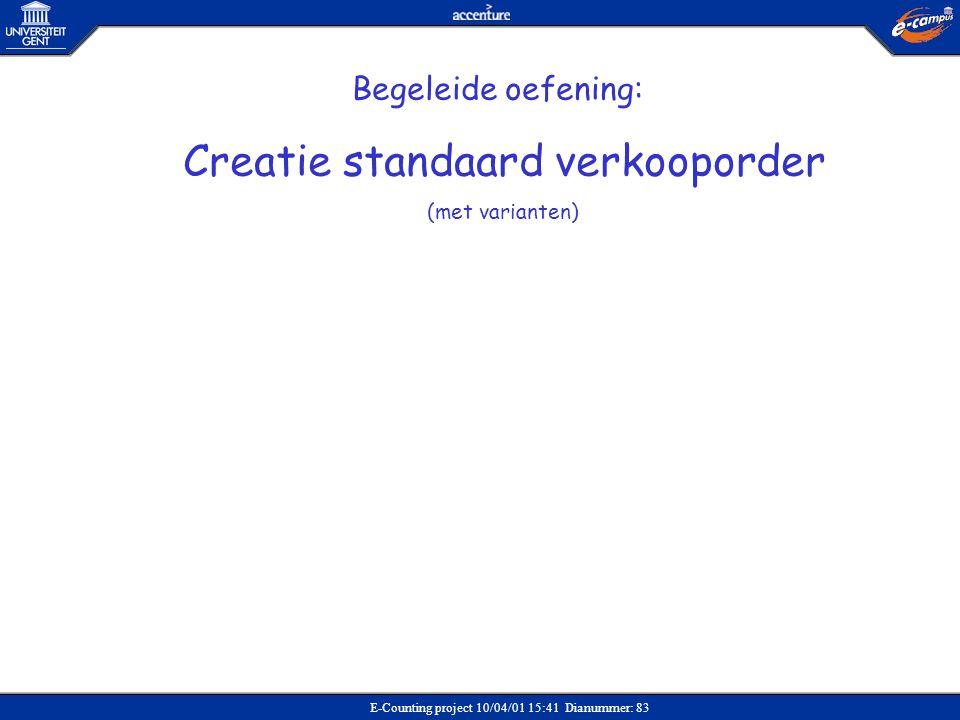 Creatie standaard verkooporder