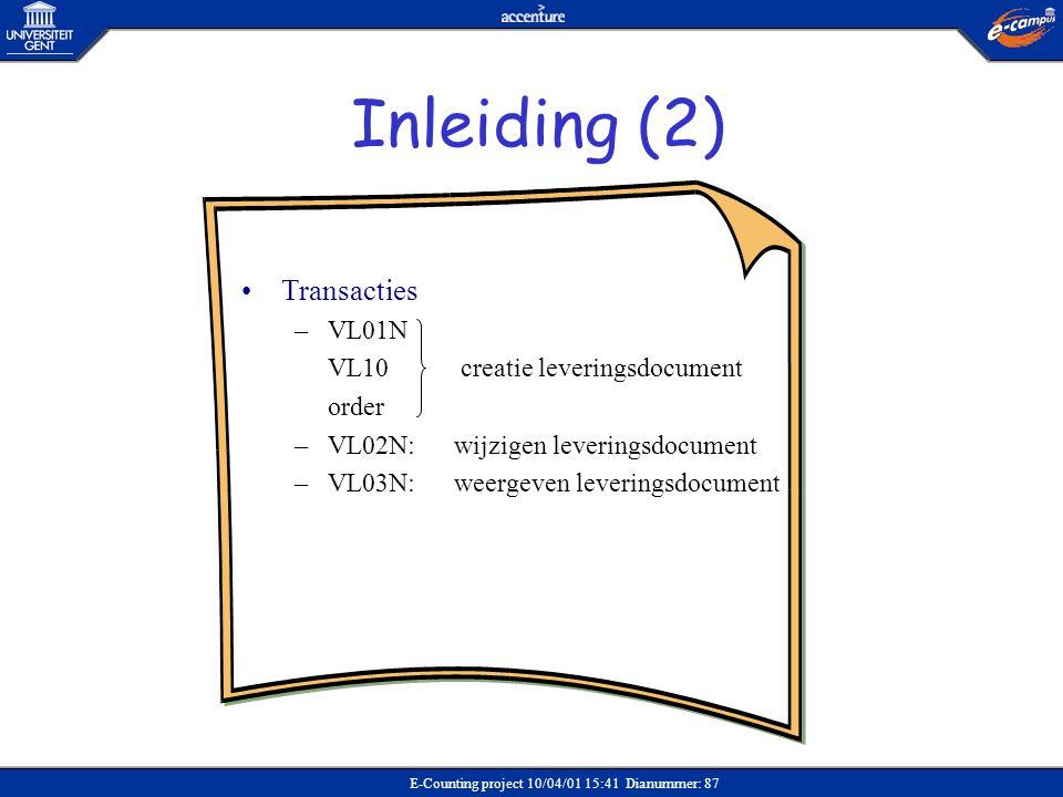 Inleiding (2) Transacties VL01N VL10 creatie leveringsdocument order