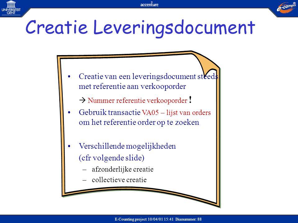 Creatie Leveringsdocument
