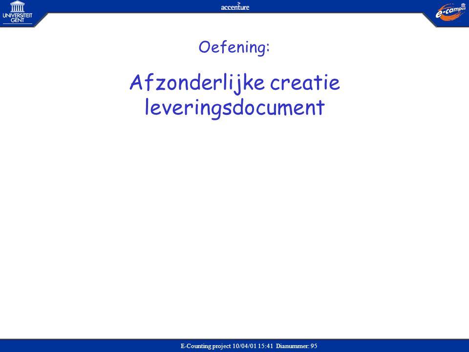Afzonderlijke creatie leveringsdocument