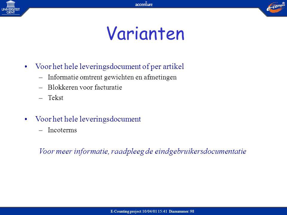 Varianten Voor het hele leveringsdocument of per artikel