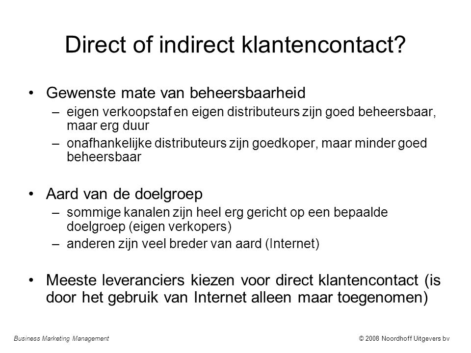 Direct of indirect klantencontact