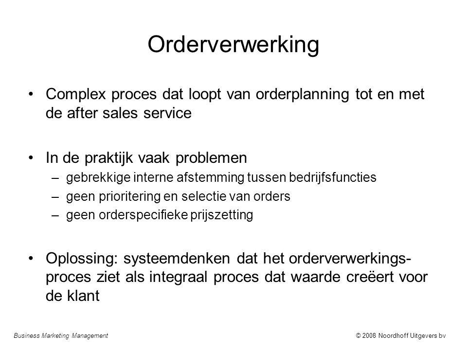 Orderverwerking Complex proces dat loopt van orderplanning tot en met de after sales service. In de praktijk vaak problemen.