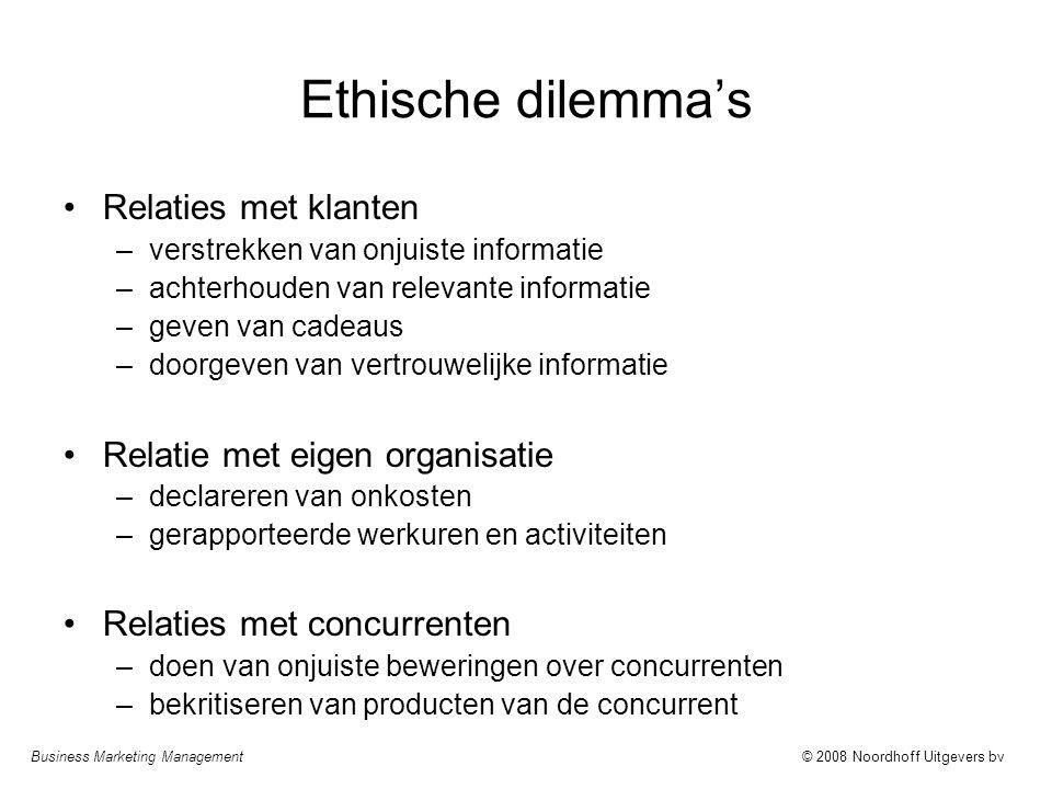 Ethische dilemma's Relaties met klanten Relatie met eigen organisatie