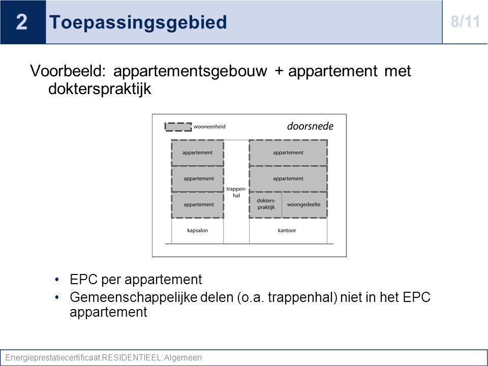 2 Toepassingsgebied. 8/11. Voorbeeld: appartementsgebouw + appartement met dokterspraktijk. EPC per appartement.