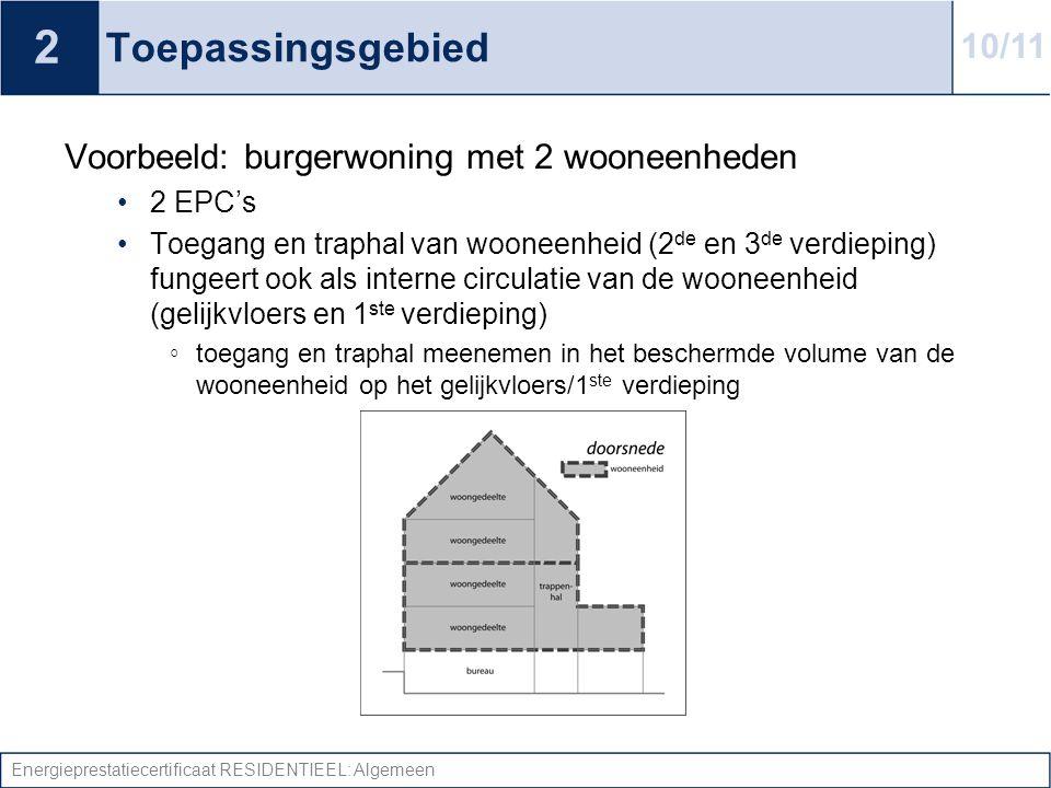 2 Toepassingsgebied 10/11 Voorbeeld: burgerwoning met 2 wooneenheden
