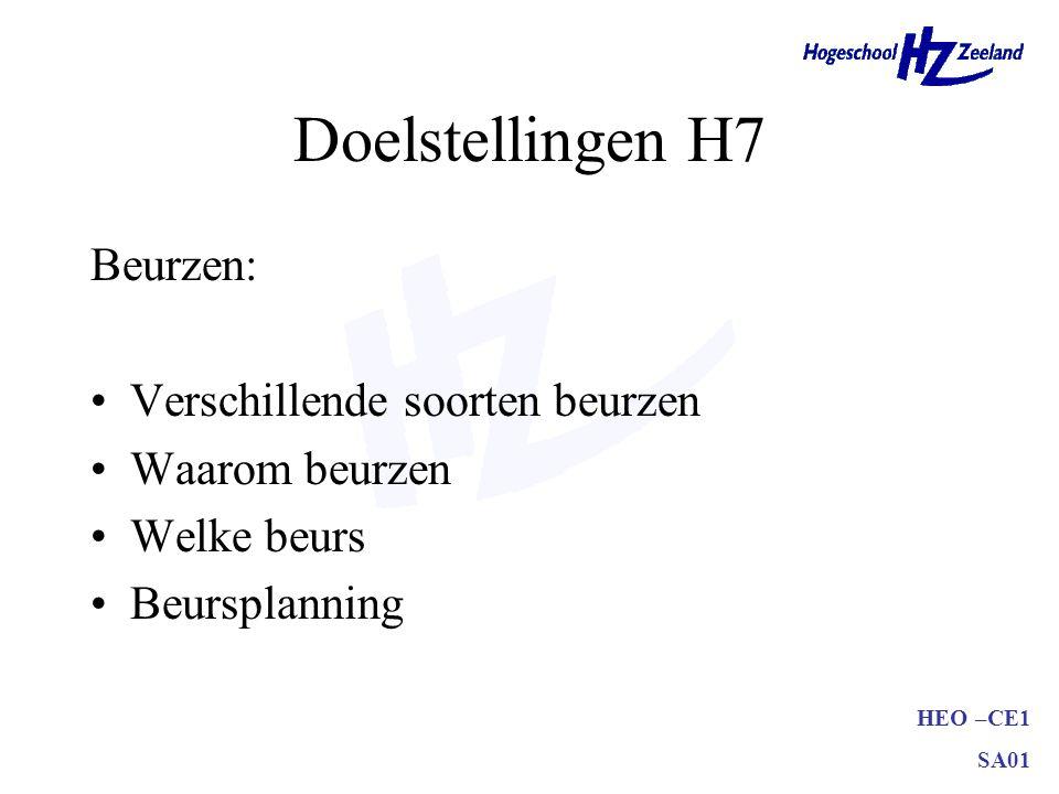 Doelstellingen H7 Beurzen: Verschillende soorten beurzen
