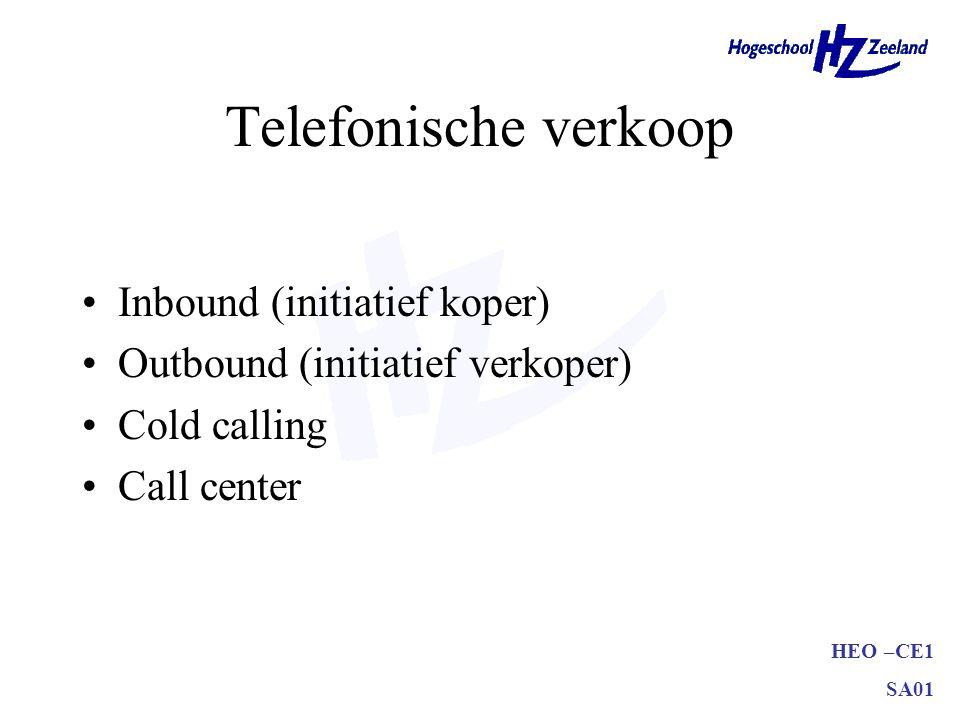 Telefonische verkoop Inbound (initiatief koper)