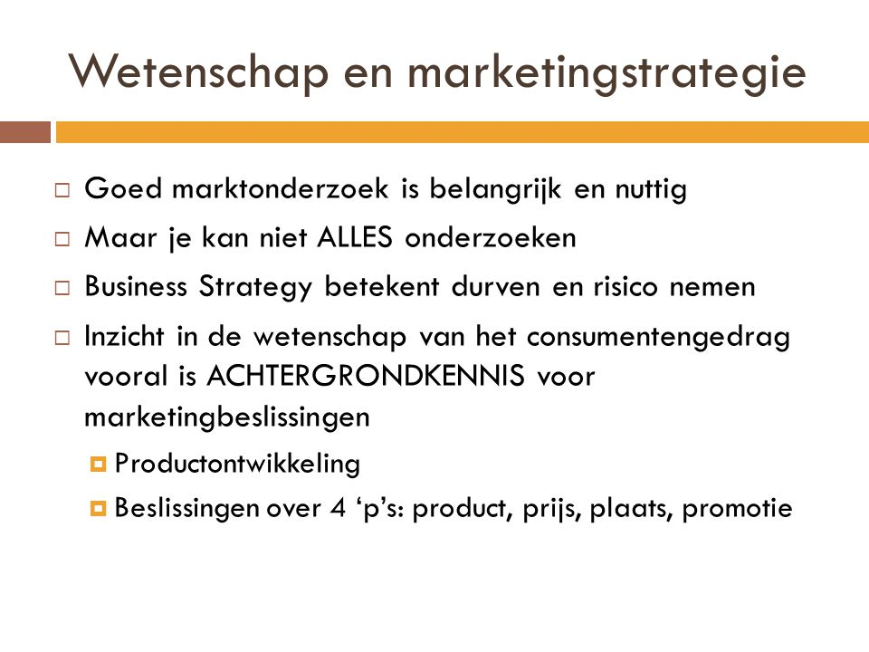 Wetenschap en marketingstrategie