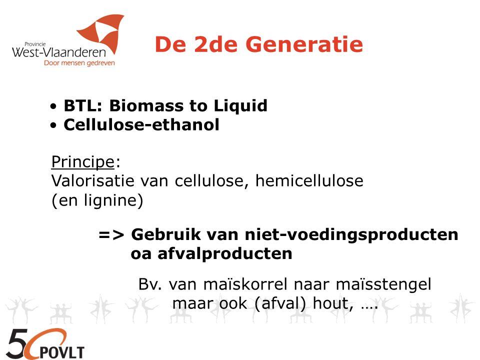 De 2de Generatie BTL: Biomass to Liquid Cellulose-ethanol Principe: