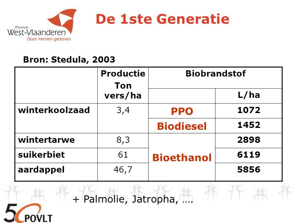 De 1ste Generatie PPO Biodiesel Bioethanol + Palmolie, Jatropha, ….