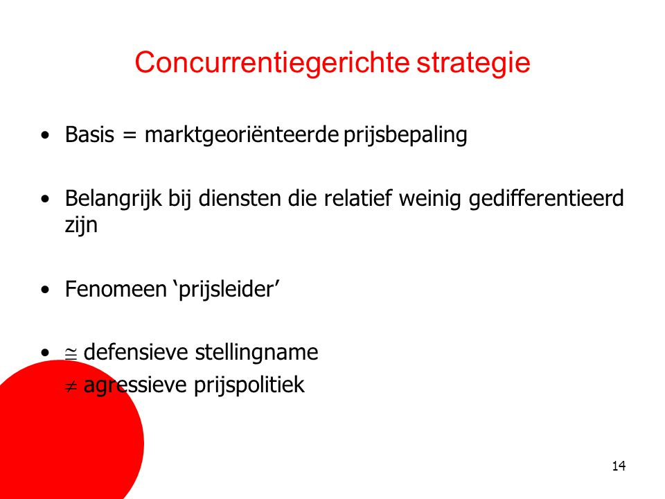Concurrentiegerichte strategie