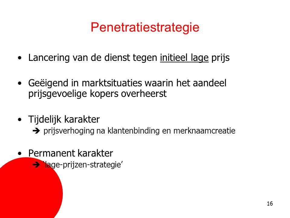 Penetratiestrategie Lancering van de dienst tegen initieel lage prijs