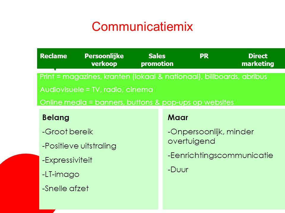 Communicatiemix Belang -Groot bereik Positieve uitstraling