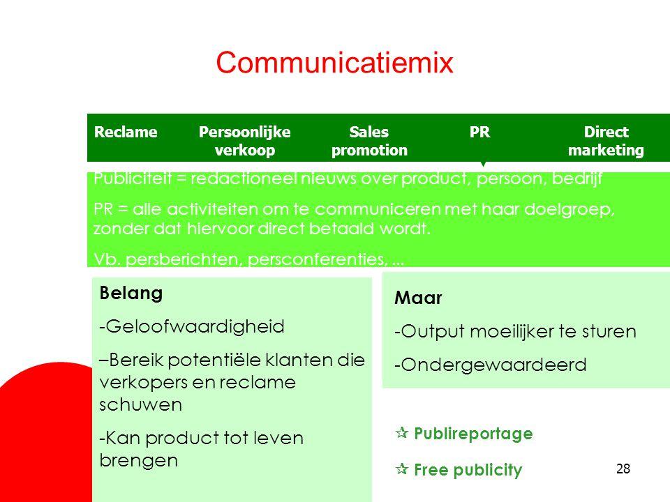 Communicatiemix Belang Maar -Geloofwaardigheid