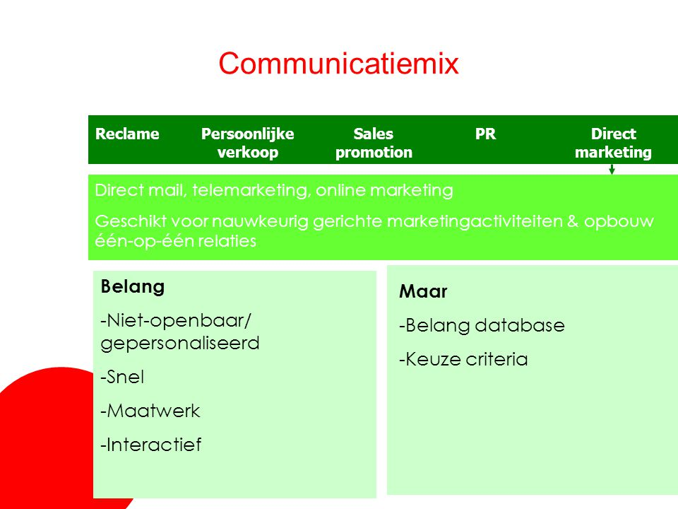 Communicatiemix Belang Maar -Niet-openbaar/ gepersonaliseerd