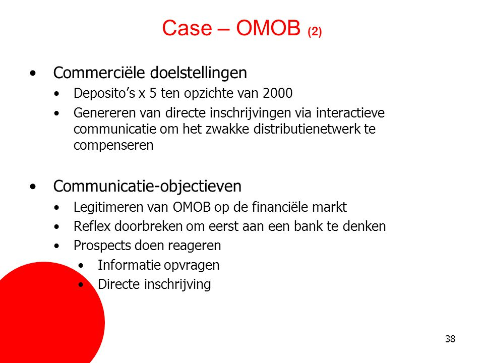 Case – OMOB (2) Commerciële doelstellingen Communicatie-objectieven