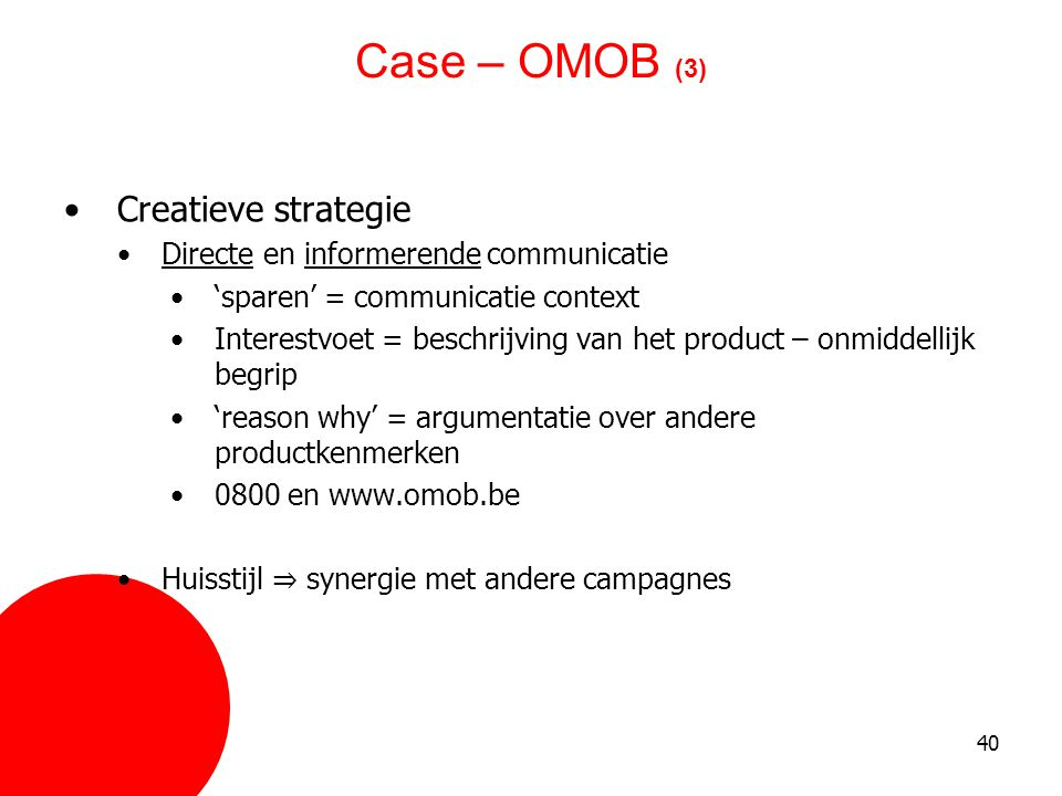 Case – OMOB (3) Creatieve strategie