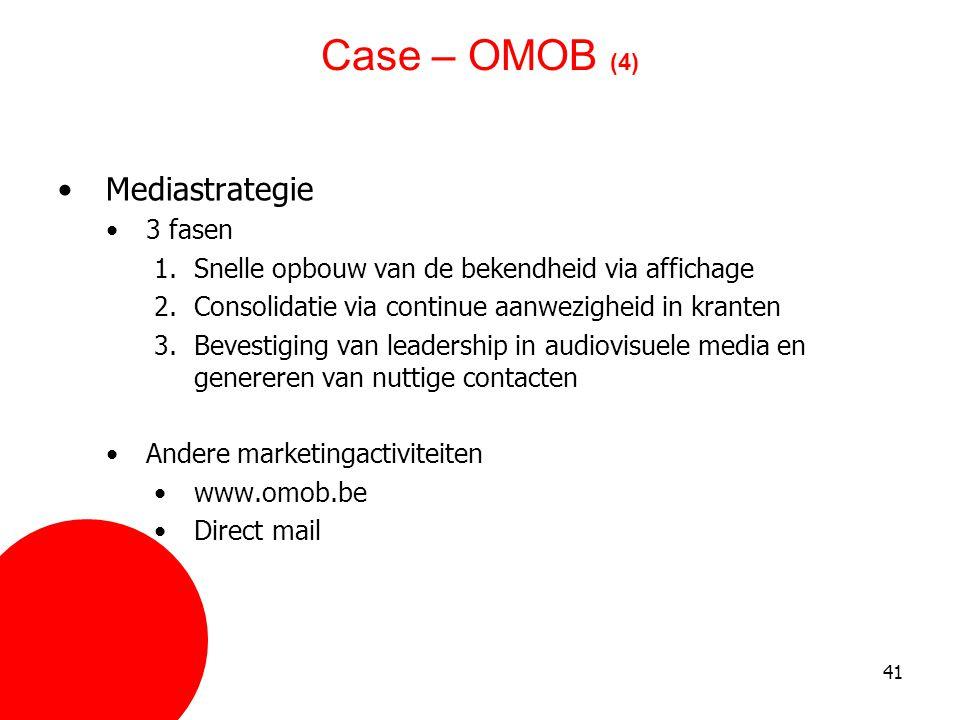 Case – OMOB (4) Mediastrategie 3 fasen