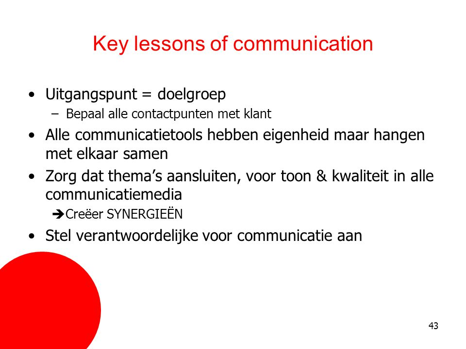 Key lessons of communication