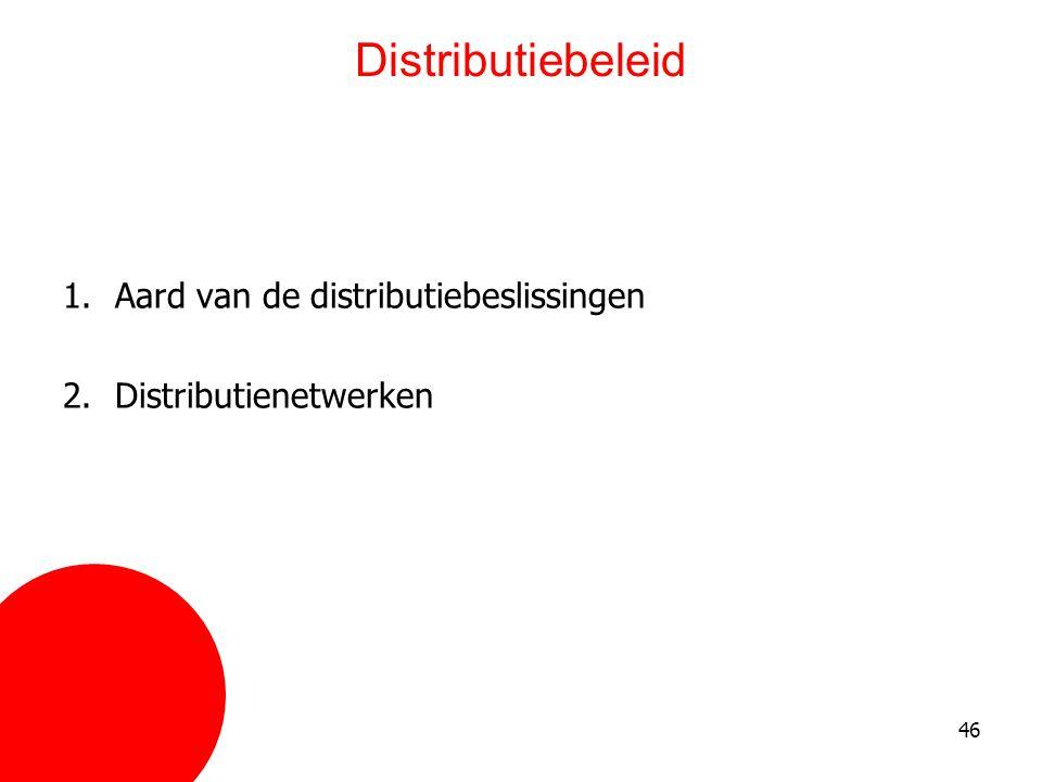 Distributiebeleid Aard van de distributiebeslissingen