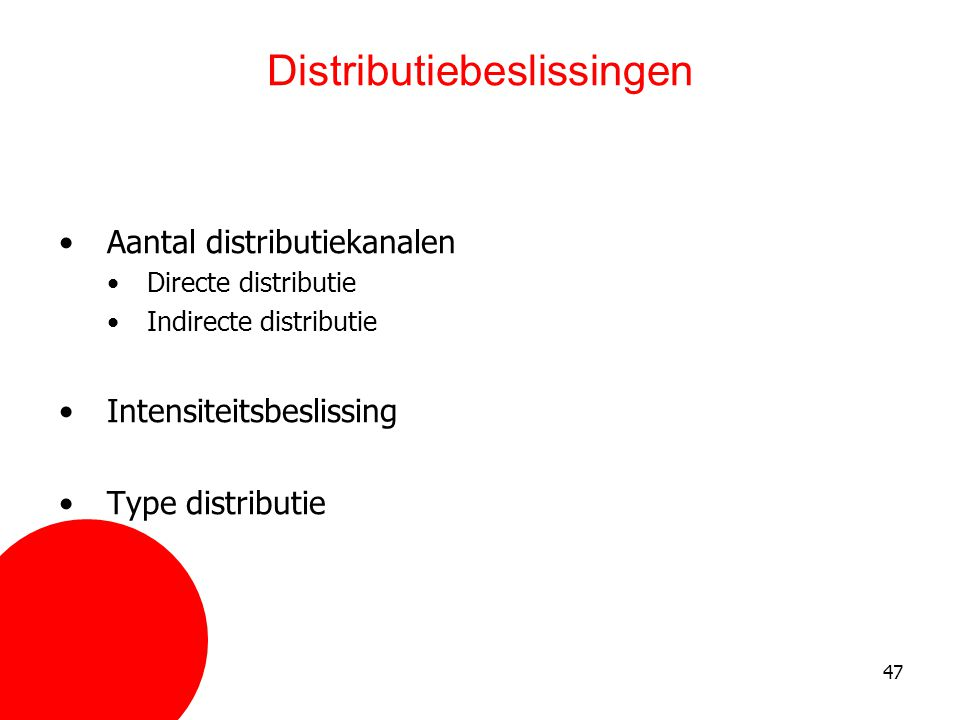 Distributiebeslissingen