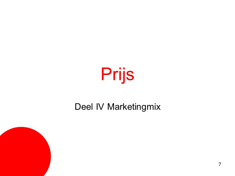 Prijs Deel IV Marketingmix