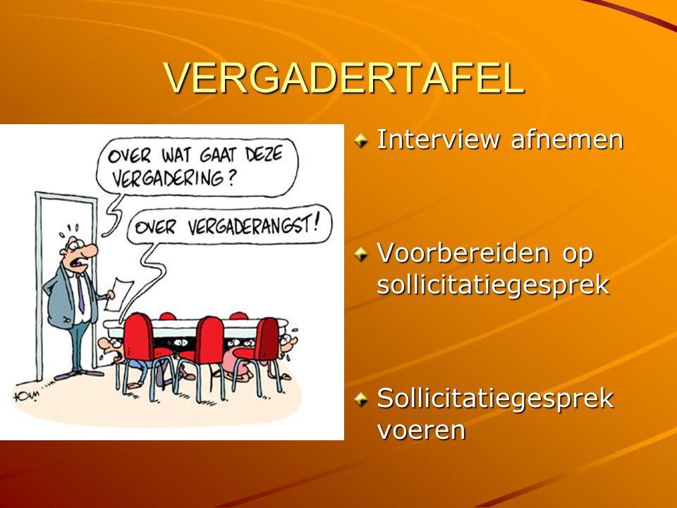 VERGADERTAFEL Interview afnemen Voorbereiden op sollicitatiegesprek