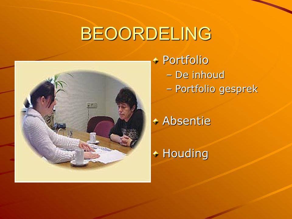 BEOORDELING Portfolio De inhoud Portfolio gesprek Absentie Houding