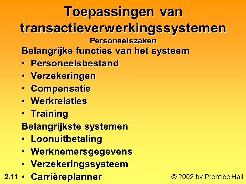 Toepassingen van transactieverwerkingssystemen Personeelszaken