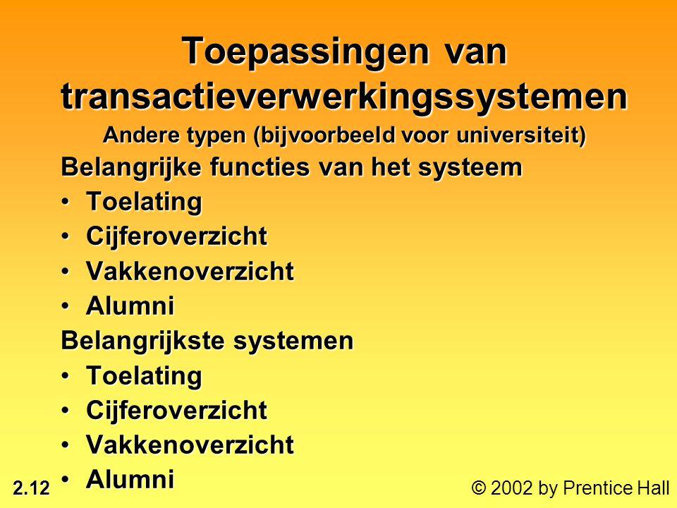 Toepassingen van transactieverwerkingssystemen Andere typen (bijvoorbeeld voor universiteit)