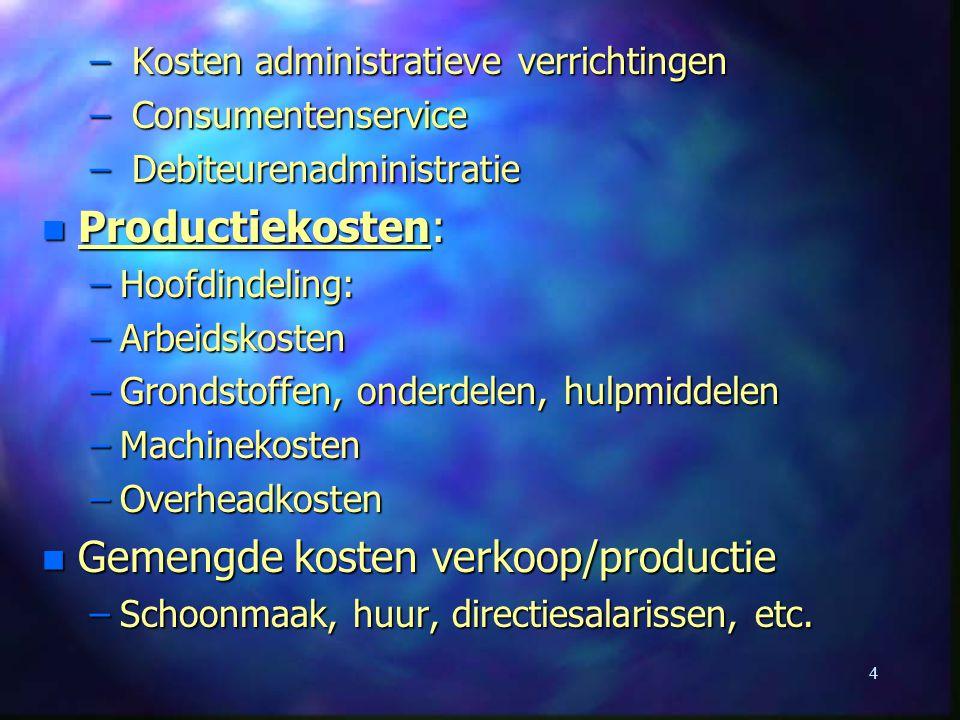 Gemengde kosten verkoop/productie