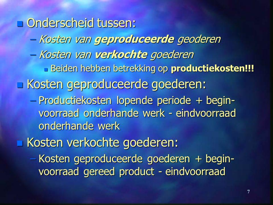 Kosten geproduceerde goederen: