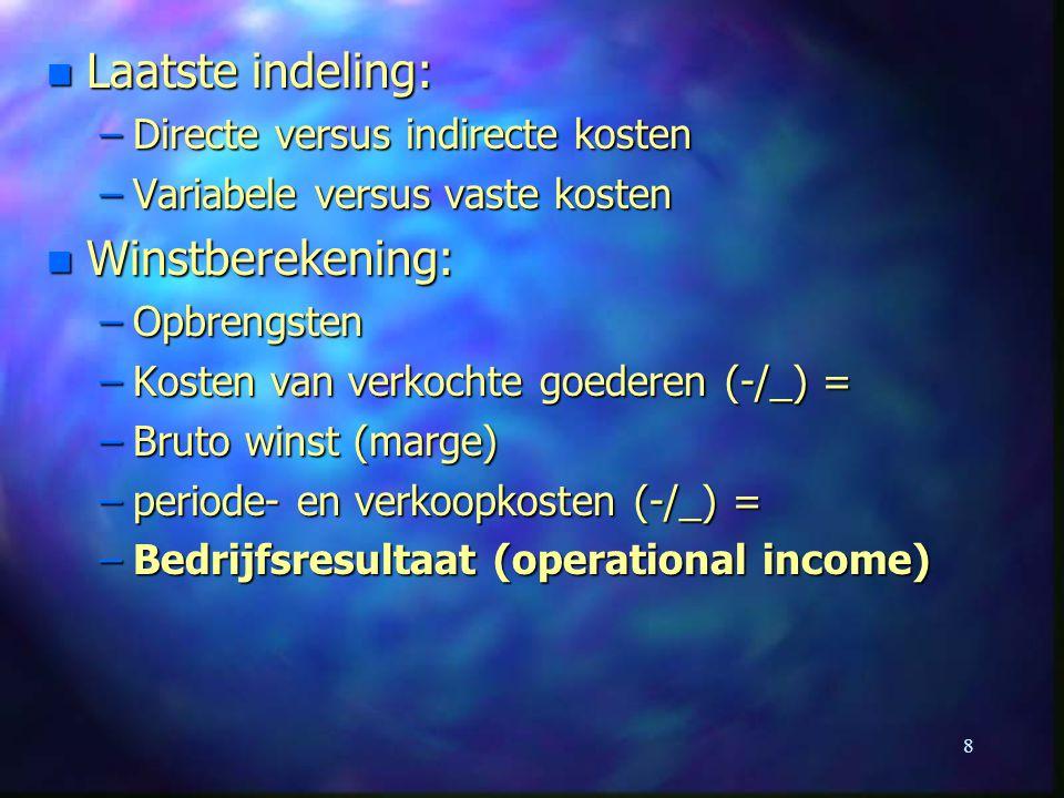 Laatste indeling: Winstberekening: Directe versus indirecte kosten